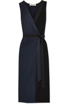 Diane von Furstenberg   Alexander two-tone crepe and satin wrap midi dress   NET-A-PORTER.COM