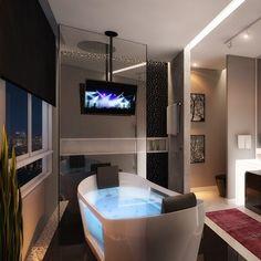 Estudo de uma sala de banho para um apartamento em BC!