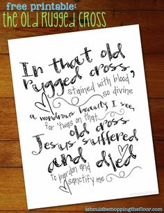 """Free printable """"Old Rugged Cross"""" Lyrics 