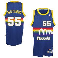 201f3bc289119f Mens Denver Nuggets Dikembe Mutombo adidas Royal Blue Hardwood Classics  Swingman Jersey