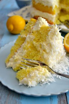 """""""Guiltless"""" Lemon Coconut cake. Ingredient swaps reduce calories. Used white cake, vanilla pudding. Used cheesecake pudding in the """"frosting"""" - left out the powdered sugar. It's very sweet. Next time: chocolate."""