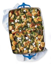 Spinach Bread Pudding with Lemon and Feta Recipe on Food & Wine