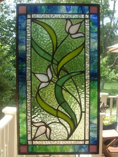 stained glass panel -- a wedding gift for my sister-in-law and her husband
