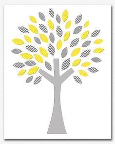 Yellow grey tree wall decor nursery Art Print  8x10 by SednaPrints, $13.50