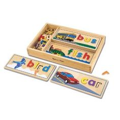 Melissa & Doug See & Spell - my 3 yr old LOVES matching the letters and asking me to spell it out for her so she can repeat the letters