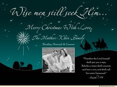 Teal Wise Men Photo Card - Isaiah Scripture Verse Christian Christmas Cards, Three Wise Men, Conceiving, Scripture Verses, Man Photo, Photo Cards, Merry, Movie Posters, Teal