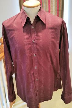 Hugo Boss Slim Fit Burgundy Men's  Button Front Long Sleeve Dress Shirt Sz XL #HugoBoss