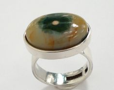 sterling silver ocean jasper ring by BIZARREjewelry on Etsy.com