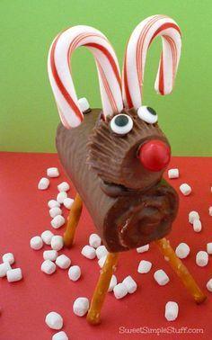 Reindeer with pretzel legs & Reese's peanut butter cup - http://SweetSimpleStuff.com