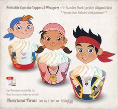 INSTANTÁNEA descargar, imprimible Jake y Neverland piratas Cupcake Toppers y Wrappers, archivo Digital, Jake, Izzy, Cubby