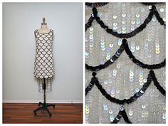20s Sequin Flapper Dress // Beaded Sequin Dress // Black & White Mini Dress // The Great Gatsby Dress // Art Deco Embellished Dress Small XS