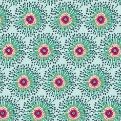 """Clover Field in Teal"" by Katy Jones from the collection ""Priory Square"". Available at www.pinkcastlefabrics.com."