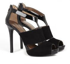 """4.5"""" cutout heel with genuine suede detail and back zip closure."""
