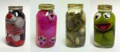 kermit, sylvester and some other furry friends pickled in jars!