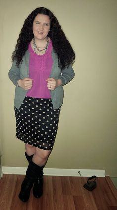 Just Another Smith: Radiant Orchid ruffle blouse, gray cardigan, black/white polka dot pencil skirt, black boots