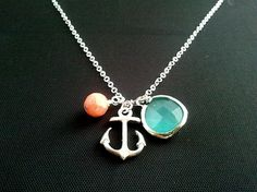Anchor pendant, Necklace, coral, mint glass ,anchor charm, pendant, lariat, wedding, necklace, mother's day gift on Etsy, $22.00