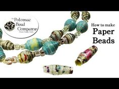 How to Make Paper Beads. This video tutorial from The Potomac Bead Company teaches you how to make easy paper beads. Your only required materials are paper, and nail polish! Paper Beads Tutorial, Paper Beads Template, Make Paper Beads, Paper Bead Jewelry, How To Make Paper, How To Make Beads, I Love Jewelry, Diy Jewelry, Beaded Jewelry