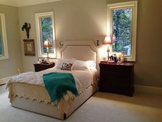 Fresh, clean, and simple is the name of the game in this master bedroom.