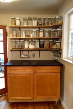 shelves we cut sanded and stained pine lowe s jars dollar