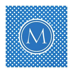 Dazzling Blue Polka Dot and Monogram Gallery Wrapped Canvas