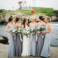 Bridal party of blue