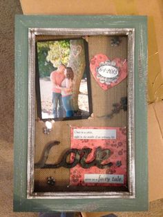 How To Decorate A Shadow Box Entrancing Engagement Shadow Box  Scrapbook  Shadow Box  Pinterest Design Inspiration