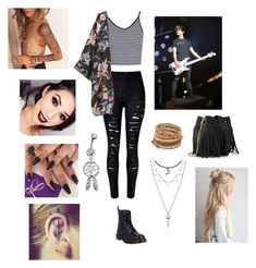 """Watching Cal's Concert // Calum Hood 5SOS"" by angelicxoutsider ❤ liked on Polyvore featuring Topshop, H&M, Dr. Martens, Whistles, Chan Luu, Hot Topic and Bling Jewelry"