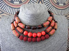 High Ethnic Choker Natural Stone Necklace Tribal Multistrand
