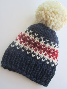e5d744ea874 Items similar to Red White Blue Fair Isle Knit Hat