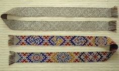 Reconstruction of one of the bands, known from the Höfdi church, Reykjavik, Iceland. woven by Marijke van Epen. In the band below the patterns are brocaded with wool in various colours. Original bands in the National Museum, Reykjavik.