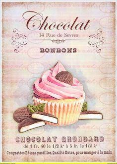 Vintage Shabby Cupcake Bügelbild Shabby Chic 1070
