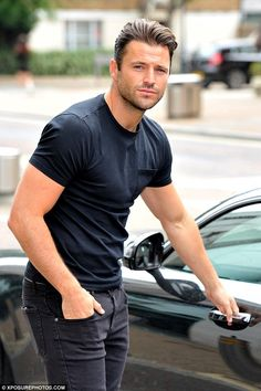 Solo: Mark Wright stepped out alone when he visited the ITV Studios in London on Thursday