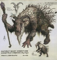 deimos-remus: William Stout concept art for Pan's Labyrinth. Stout's concept for the character of Pan.