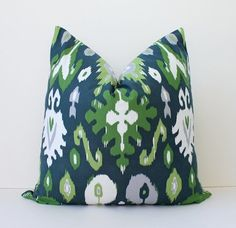 "Midnight Blue and Green Ikat Designer Cushion Cover 18"" Accent Pillow grass kelly jade gray navy charcoal white suzani damask. $40.00, via Etsy."