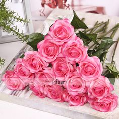 2017 Real Touch Flowers Pink Rose Silk Flowers Latex Artificial Flowers For Wedding Decoration Fake Flowers Valentines Day Gifts
