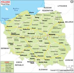 Poland Road Map showing all the major roads with capital city and other major cities. Poland Map, Poland History, Road Trip Europe, Eurotrip, Capital City, Family History, National Geographic, Travel Guides, Genealogy