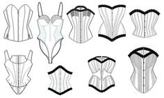 PACK OF 5 MISCALLNEOUS CORSET PATTERNS (PLEASE OPEN PACK TO SEE JPEG'S OF ALL STYLES). CREATED IN ILLUSTRATOR AND SAVED AS PDF'S WITHIN A ZI...