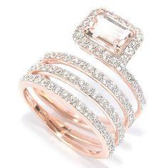 146-280 - Gem Treasures® 14K Rose Gold 3.24ctw Morganite & White Zircon Wrap Ring
