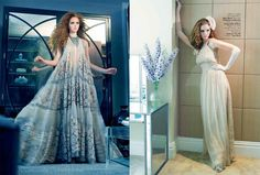 Lilly Cole wears (left photo) Roberto Cavalli; Max Mara and Christian Louboutin (right photo)