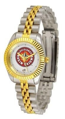 Louisiana-LaFayatte Ragin Cajuns ULL NCAA Womens 23Kt Gold Watch by SunTime. $134.95. Officially Licensed Louisiana at Lafayette Cajuns Women's Two-Tone Executive Watch. Links Make Watch Adjustable. Women. 2-Tone Stainless Steel Band. 23kt Gold-Plated Bezel. The ultimate fans statement our Ladies Executive timepiece offers women a classic business-appropriate look. Features a 23kt gold-plated bezel stainless steel case and date function. Secures to your wrist wit...
