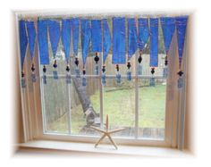 Bluetopia Number ONE   Stained Glass Window Treatment Valance
