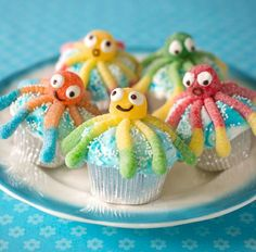 From the current issue of FamilyFun: These adorable octo-treats are a shore thing for summer. http://www.parents.com/videos/v/75580368/octopus-cupcakes.htm