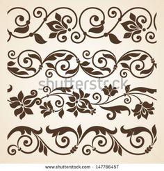 Immagini, foto stock e grafica vettoriale simili a tema Set of beautiful floral elements isolated on white. Vector version also available in gallery - 70768717 Stencil Patterns, Stencil Art, Stencil Designs, Painting Patterns, Pattern Art, Pattern Design, Stencils, Boarder Designs, Border Embroidery Designs