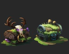 """Check out my @Behance project: """"Chest Icons"""" https://www.behance.net/gallery/58799769/Chest-Icons chest icon game art druid forest game asset"""