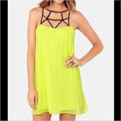 Bright Yellow Cage Cage Cocktail Dress, Size S