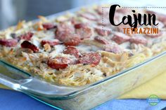 Cajun Tetrazzini - This takes a classic recipe and gives it a cajun twist! It's got TONS of flavor! Great for using up leftover chicken or turkey, and serves a large crowd. We loved this! Tetrazzini, Cajun Cooking, Large Crowd, 9x13 Baking Dish, Classic Recipe, Pasta, How To Cook Sausage, Creamed Mushrooms, Regional