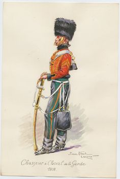 Chasseur a Cheval de la Garde, 1808 1950 Leroux, Pierre Albert (artist) One of 73 watercolors, signed by Pierre Albert Leroux. A soldier, in uniform with sword, standing.