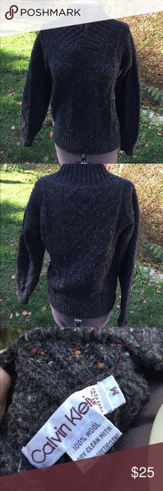"""VTG: Calvin Klein Wool Grunge Sweater Cozy up in this sweater. Would look great tossed over a mini dress.   Reasonable offers considered. Bundle discounts based on items  Flat Measurements  Chest: 22"""" Waist: 14"""" (has stretch) Length: 25"""" Calvin Klein Sweaters Crew & Scoop Necks"""