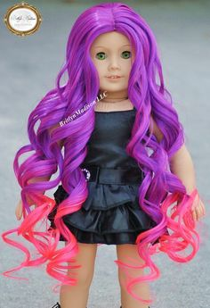 18 inch premium heat safe purple and electric  pink Ombre doll wig for custom American Girl Dolls