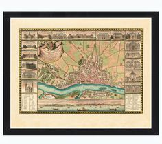 Old Map of Warsaw 1772 with gravures Poland by OldCityPrints, $39.00